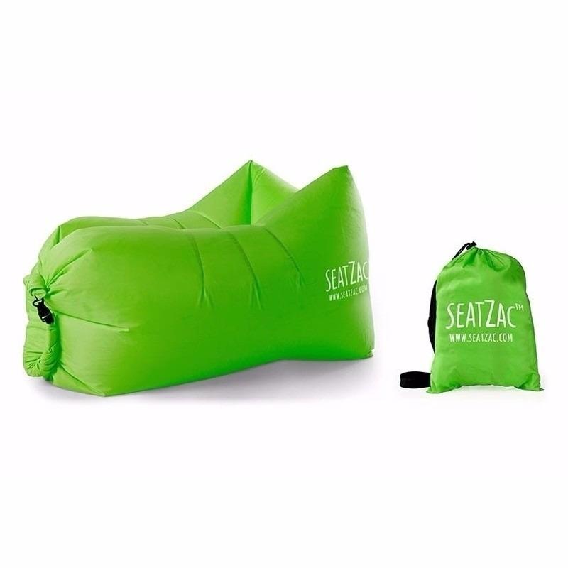 Grote handige camping zitzak stoel in het groen 130 cm