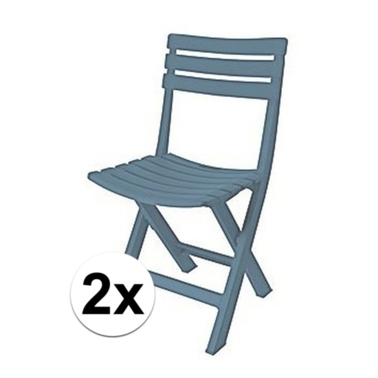 2x grijsblauw camping stoeltje 80 cm