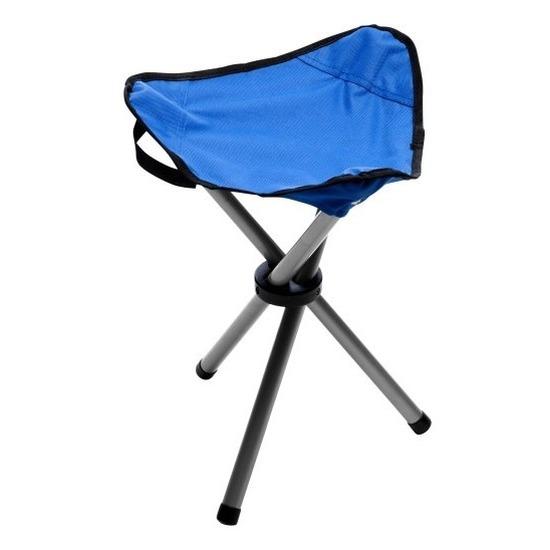 Blauw campingkrukje driepoot