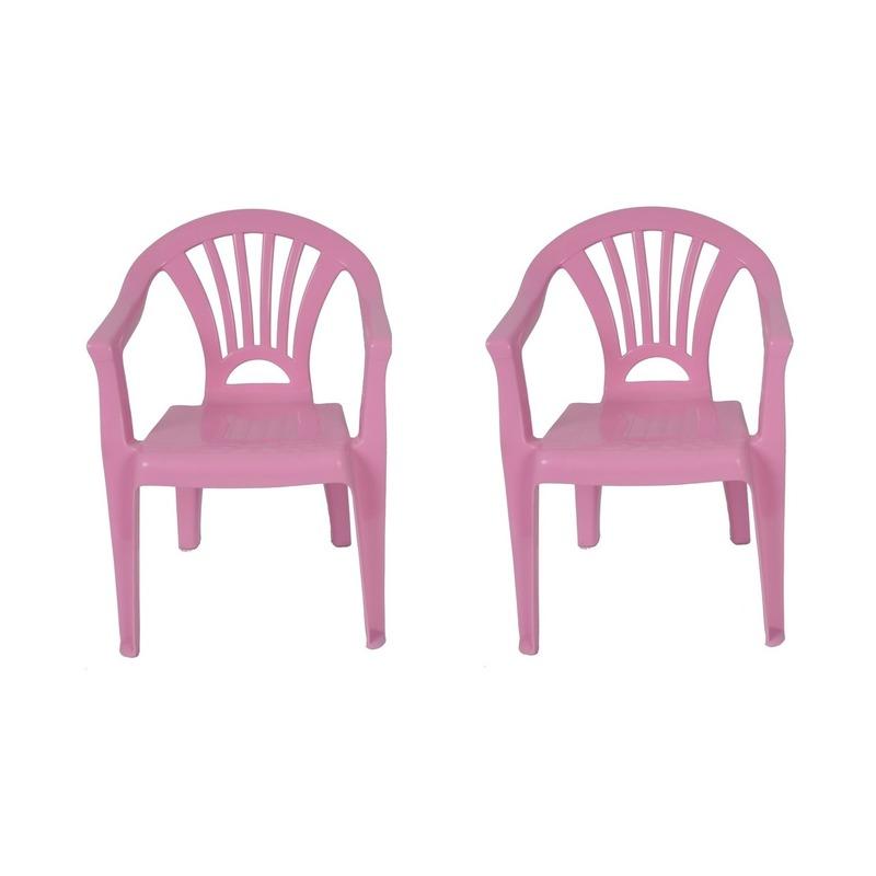 2x roze kinderstoeltje plastic 37 x 31 x 51 cm