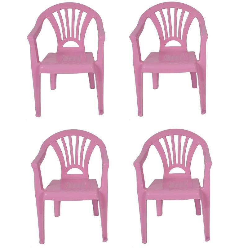 4x roze kinderstoeltje plastic 37 x 31 x 51 cm