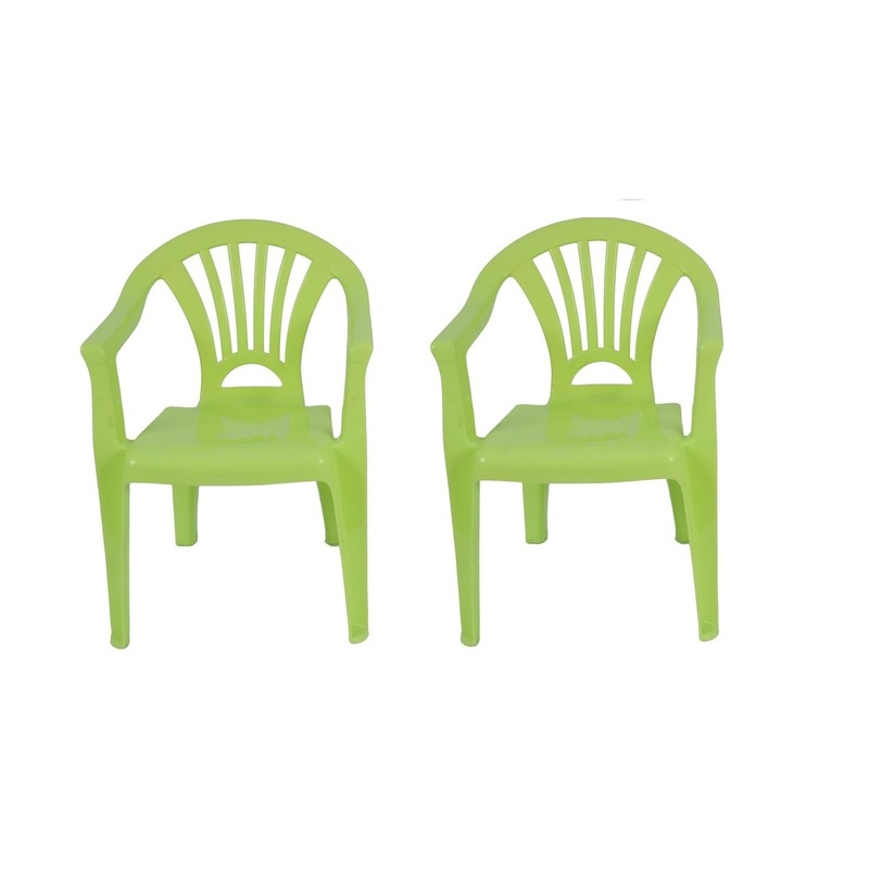 2x groen kinderstoeltje plastic 37 x 31 x 51 cm