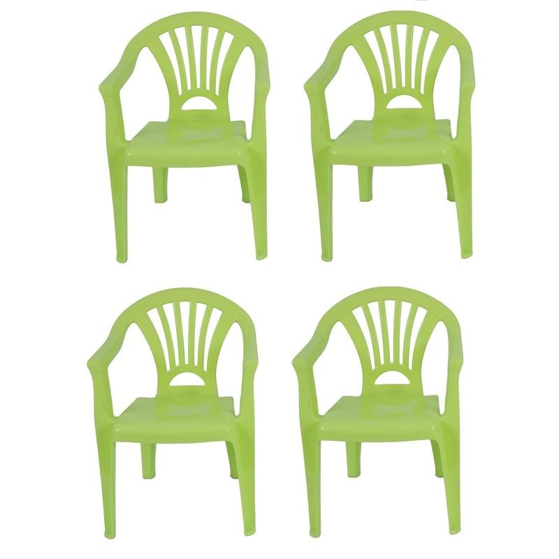 4x groen kinderstoeltje plastic 37 x 31 x 51 cm