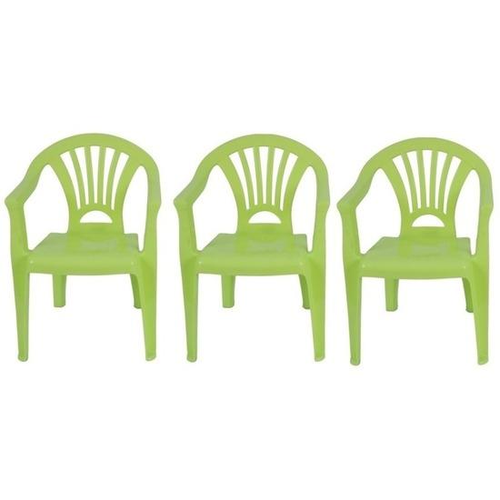 3x groen kinderstoeltje plastic 37 x 31 x 51 cm