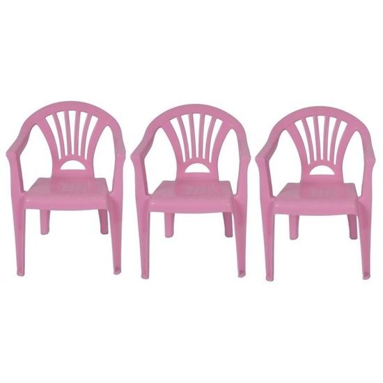 3x roze kinderstoeltje plastic 37 x 31 x 51 cm