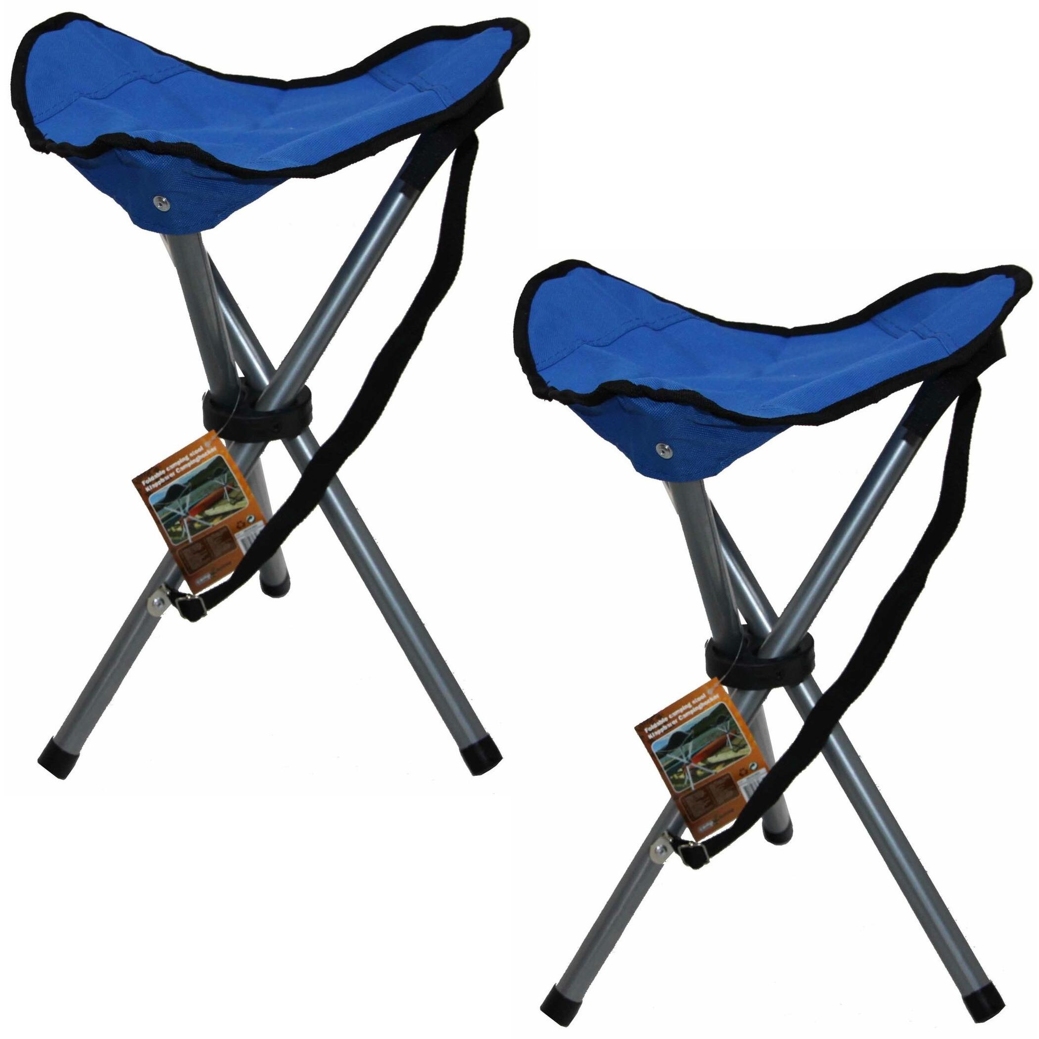 2x blauw opvouwbaar lichtgewicht campingkrukje 31 x 50 cm